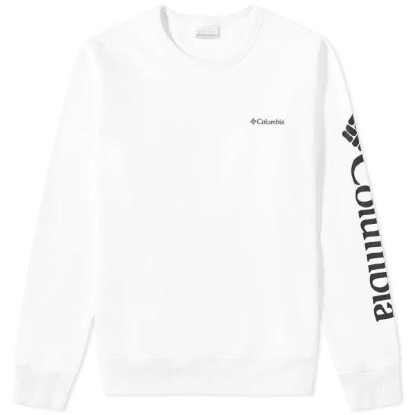 Columbia M Columbia Logo Fleece Crew White, Black
