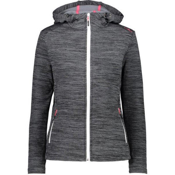 CMP WOMAN FIX HOOD JACKET PIOMBO MEL.-BIANCO